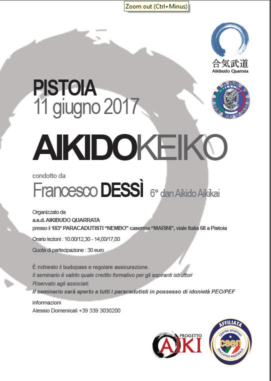 Stage di Aikido, Franesco Dessì, Pistoia, Aikibudo Quarrata