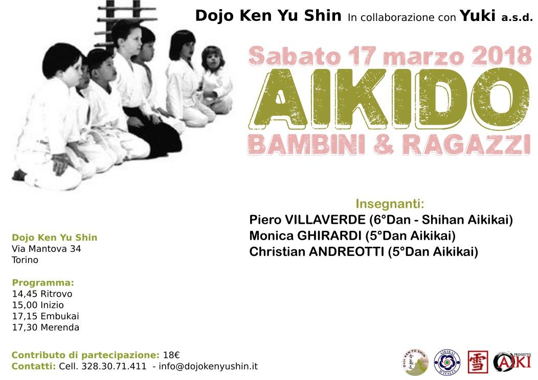 Stage di Aikido Bambini e Ragazzi, Piero Villaverde, Monica Ghirardi, Christian Andreotti, Torino