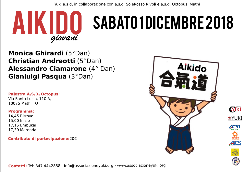 Stage Aikido giovani, Monica Ghirardi, Christian Andreotti, Alessandro Ciamarone, Gianluigi Pasqua ProgettoAIki, Yuki, Mathi