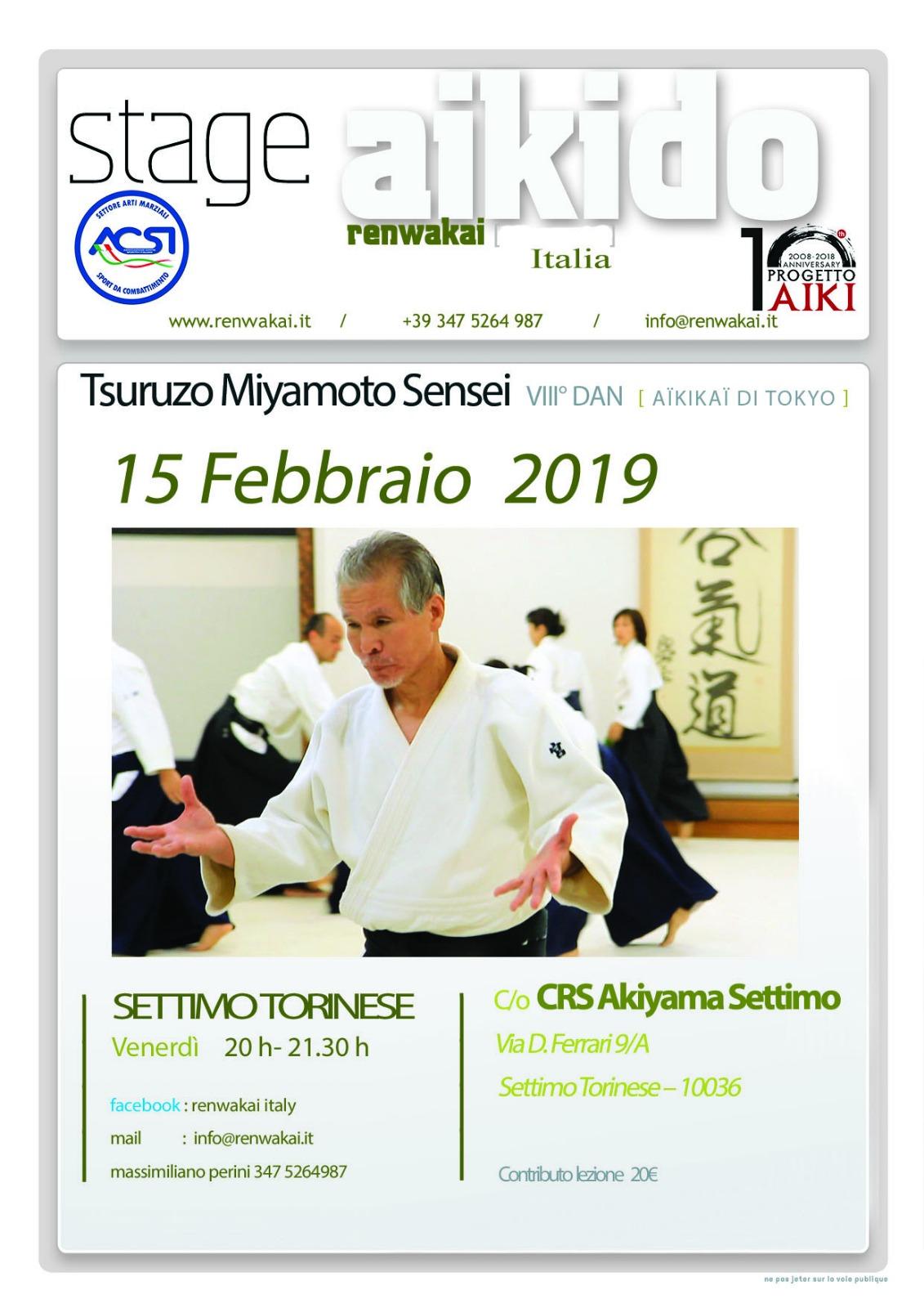 Tsuruzo Miyamoto, Aikido RWK, Settimo torinese