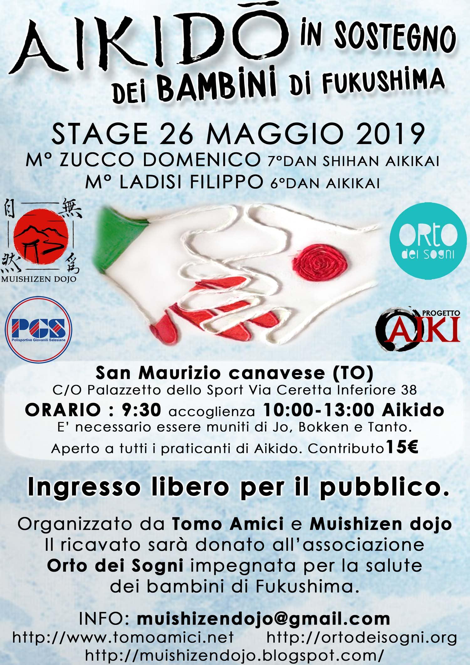 Stage di Aikido, Aikido in sotegno dei bambini di Fukushima, Muishizen APS, San Maurizio canavese