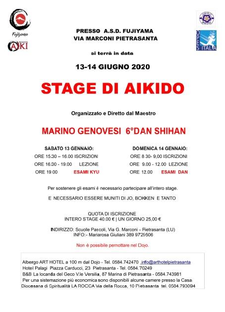 Stage Aikido,13-14 GIUGNO 2020, Marino Genovesi - ASD FUJIYAMA PIETRASANTA