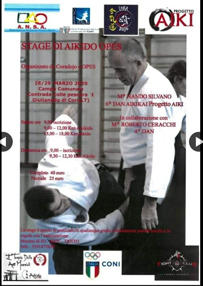 Stage di Aikido, Nando Silvano, Giulianello di Cori LT, Coradojo OPES